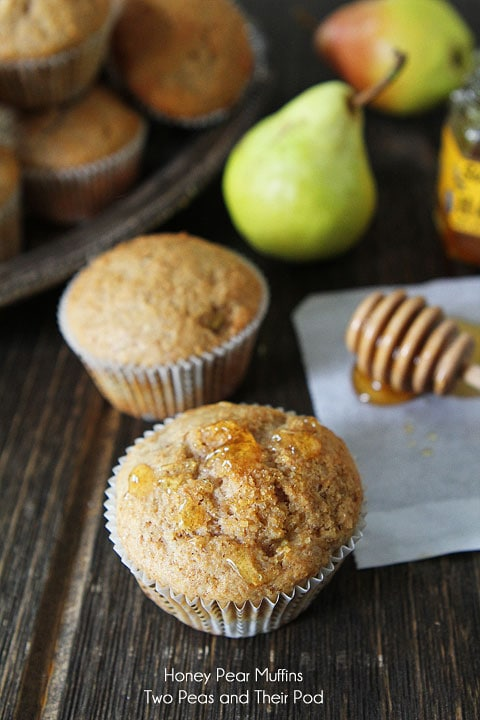 Honey Pear Muffin Recipe on twopeasandtheirpod.com The perfect Fall muffins!