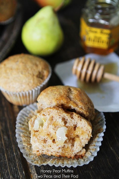 Honey Pear Muffin Recipe from twopeasandtheirpod.com A great fall breakfast treat!