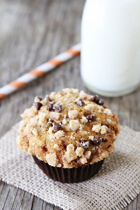 Pumpkin Toffee Chocolate Chip Muffins on twopeasandtheirpod.com #recipe