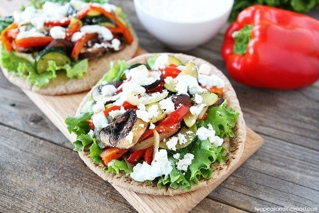 Roasted Vegetable Pita Sandwiches on twopeasandtheirpod.com #recipe