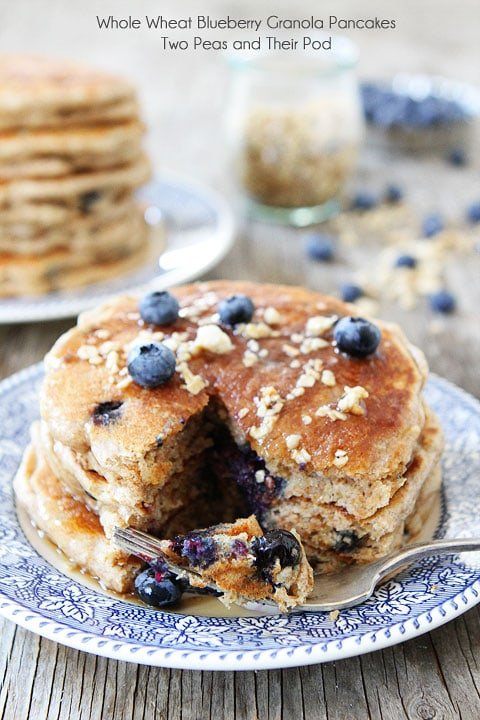 Whole Wheat Blueberry Granola Pancakes on twopeasandtheirpod.com #pancakes #breakfast