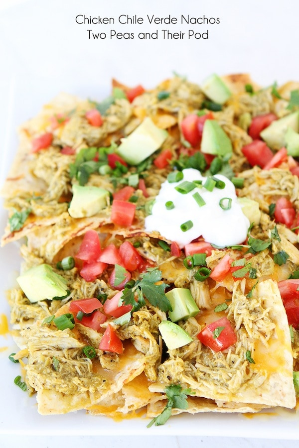 Chicken Chile Verde Nachos Recipe on twopeasandtheirpod.com #recipe #chicken