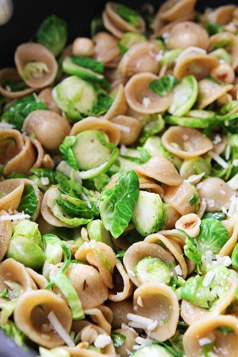 Brown Butter Brussels Sprouts Pasta with Hazelnuts Recipe on twopeasandtheirpod.com #recipe