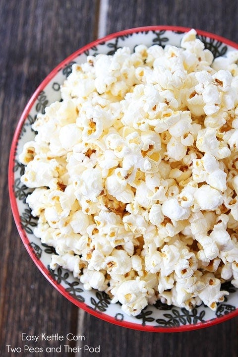 bowl full of kettle corn you can make at home