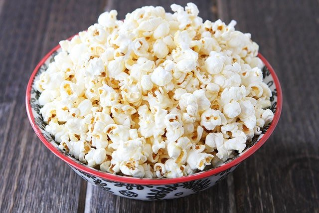 Big bowl of kettle corn made at home