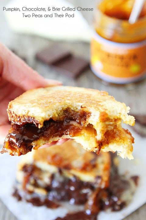Pumpkin, Chocolate, and Brie Grilled Cheese Sandwich Recipe on twopeasandtheirpod.com Such a treat!