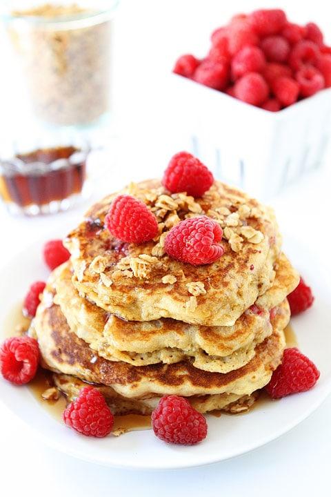Raspberry-Coconut-Granola-Pancakes-4