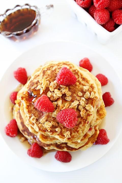 Raspberry-Coconut-Granola-Pancakes-5
