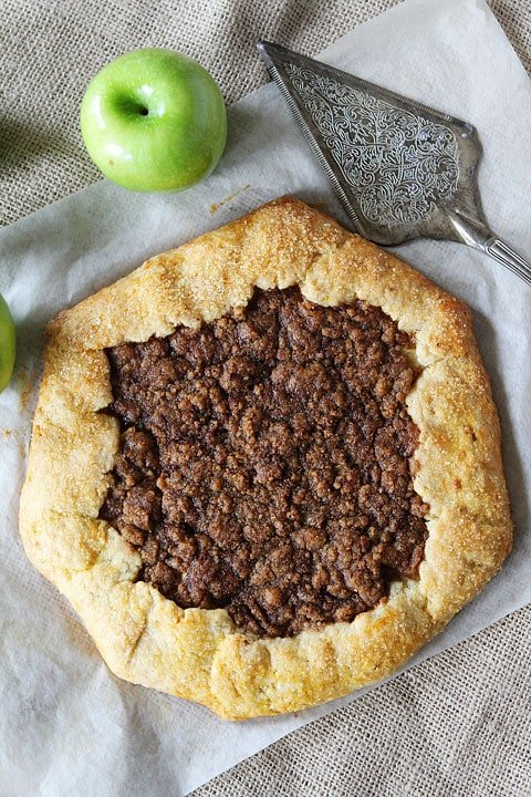 Apple Cinnamon Streusel Galette Recipe on twopeasandtheirpod.com Love this easy dessert! So much easier than making pie crust!