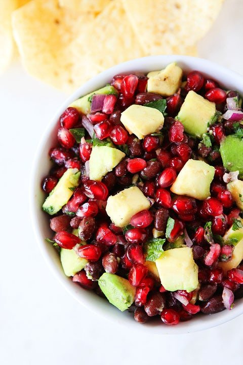 Black Bean, Pomegranate, and Avocado Salsa Recipe on twopeasandtheirpod.com Perfect appetizer for holiday parties!