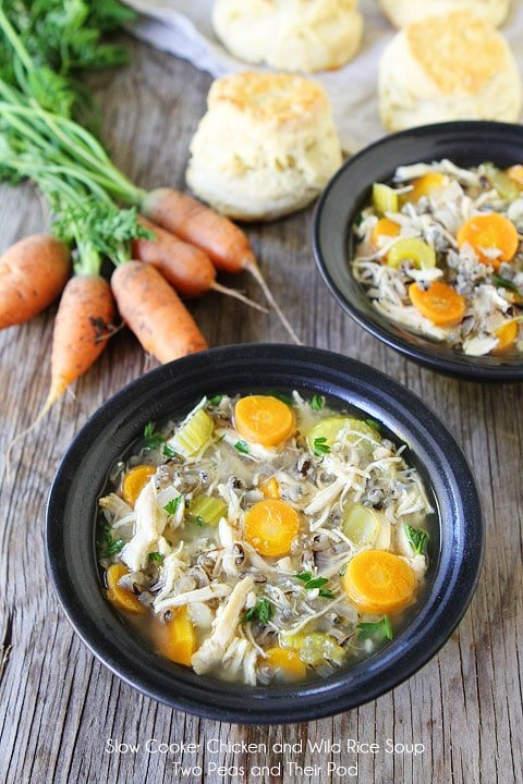 Slow Cooker Chicken and Wild Rice Soup Recipe on twopeasandtheirpod.com This hearty and healthy soup is so easy to make!