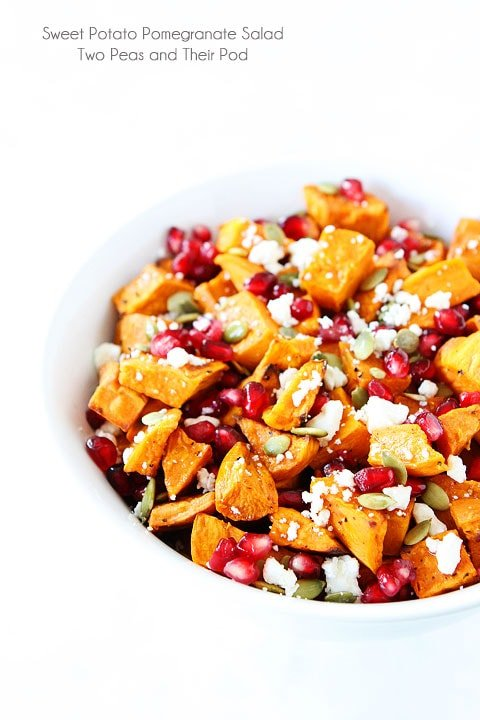 Sweet Potato Pomegranate Salad Recipe on twopeasandtheripod.com. This healthy salad is the perfect holiday side dish!