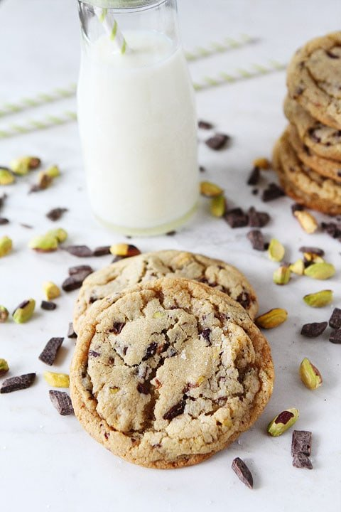 Dark Chocolate Chunk, Pistachio, and Sea Salt Cookies on twopeasandtheirpod.com I LOVE these cookies!