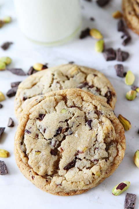 Dark Chocolate Chunk, Pistachio, and Sea Salt Cookie Recipe on twopeasandtheirpod.com The perfect cookie!