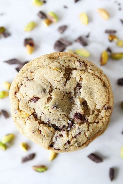 Dark Chocolate Chunk, Pistachio, and Sea Salt Cookie Recipe on twopeasandtheirpod.com The perfect holiday cookie!
