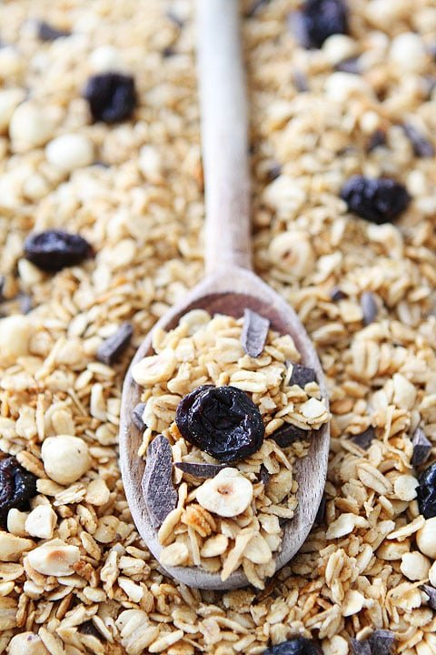 Hazelnut Granola with Dried Cherries and Dark Chocolate Recipe on twopeasandtheirpod.com Love this simple granola recipe!