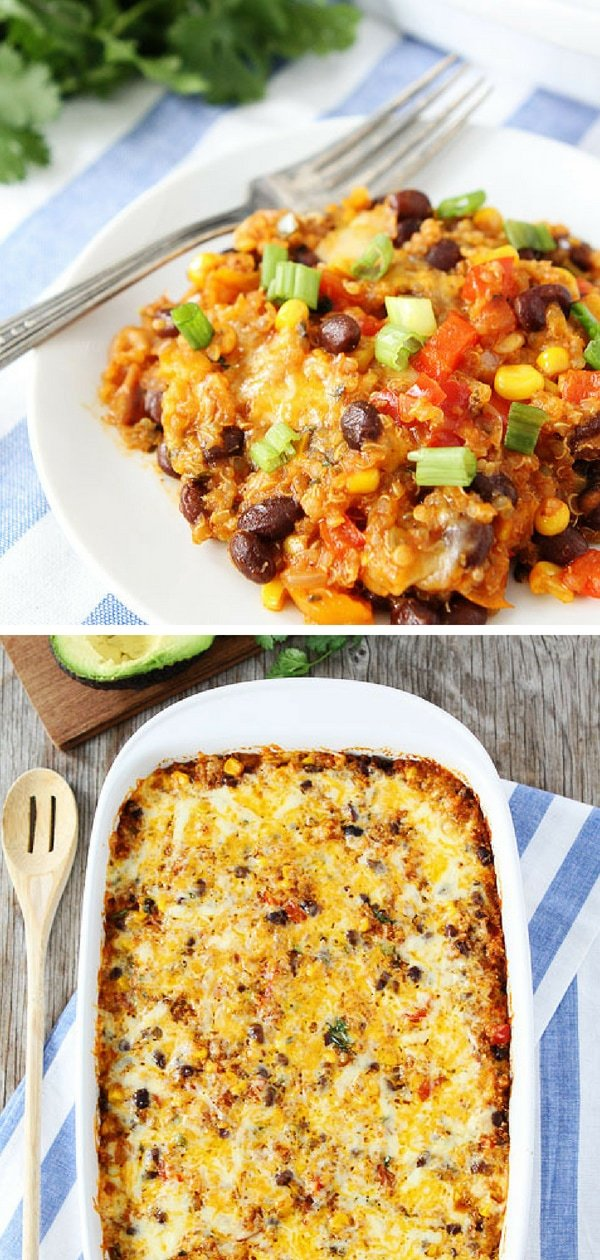 This Black Bean and Quinoa Enchilada Bake is SO good! Promise me you will make it. It is one of our favorite meals! I guarantee it will be a regular at your house! #vegetarian #glutenfree #quinoa #dinner Visit twopeasandtheirpod.com for more simple, fresh, and family friendly meals.