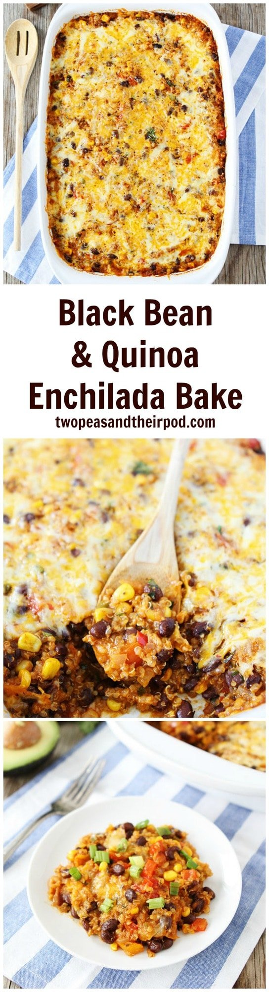 Black Bean Quinoa Enchilada Bake is a family favorite dinner. Even the kids LOVE this quinoa casserole. Bonus-it freezes well too! #vegetarian #glutenfree #quinoa #dinner Visit twopeasandtheirpod.com for more simple, fresh, and family friendly meals.