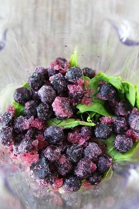 Blueberry Pomegranate Smoothie Recipe on twopeasandtheirpod.com.