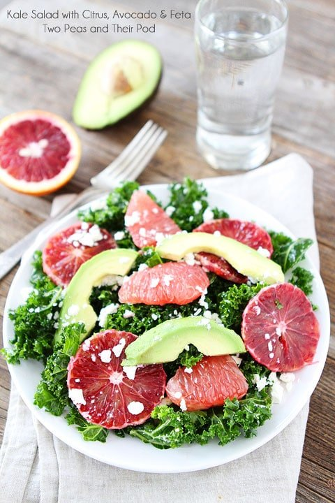 Kale Salad with Citrus, Avocado, and Feta on twopeasandtheirpod.com Love this healthy salad!