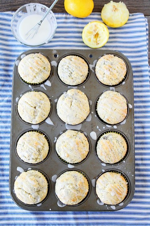 Lemon Poppy Seed Muffins with sweet lemon glaze