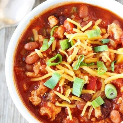 Healthy Turkey Chili in bowl ready to serve