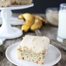 slice of banana cake with peanut butter frosting