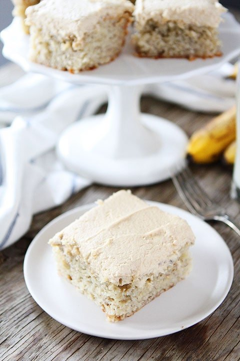 Banana Cake bars with creamy peanut butter frosting