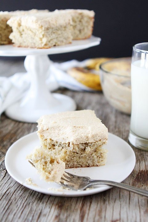 Peanut butter banana cake served with milk