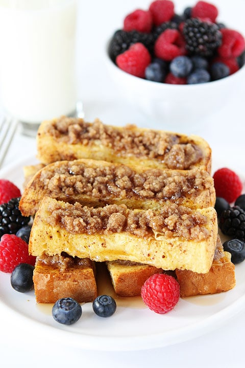 Cinnamon Streusel Baked French Toast Sticks Recipe on twopeasandtheirpod.com A great breakfast treat!