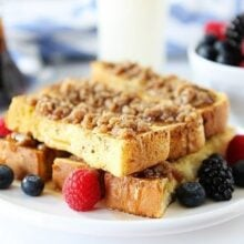 French Toast Sticks stacked with berries