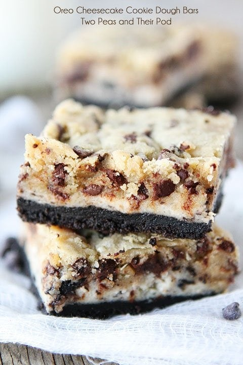 Oreo Cheesecake Cookie Dough Bars Recipe on twopeasandtheirpod.com A dream dessert!
