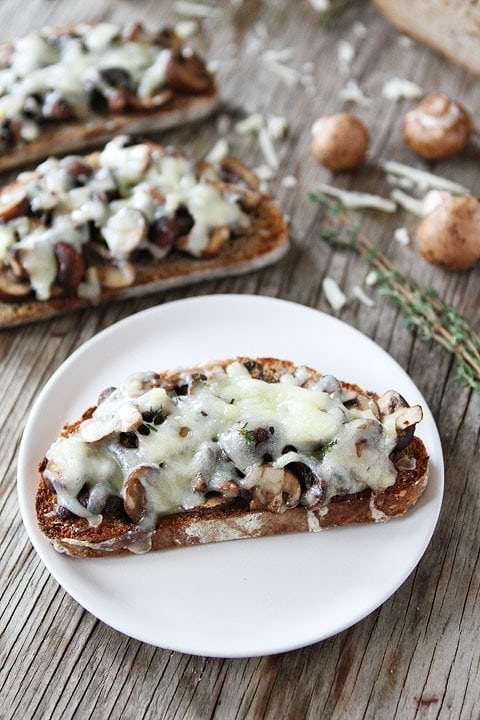 Roasted Mushroom and Gruyere Toasts on twopeasandtheirpod.com An easy lunch or dinner recipe!