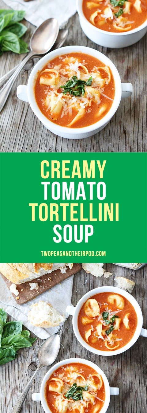 Creamy Tomato Tortellini Soup is the best tomato soup recipe and perfect for lunch or dinner! #soup #tortellini #dinner