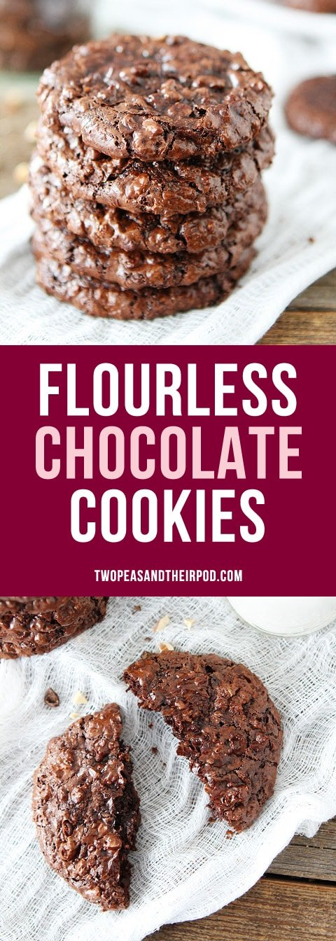 Flourless Chocolate Cookies are so rich and chocolaty! The perfect chocolate cookie, you will never know they are gluten-free! #glutenfree #cookies #chocolate