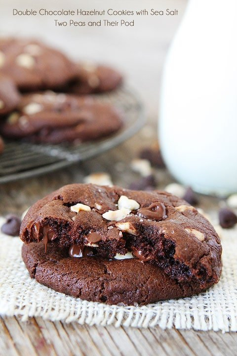 Double Chocolate Hazelnut Cookies with Sea Salt Recipe on twopeasandtheirpod.com LOVE these decadent cookies!