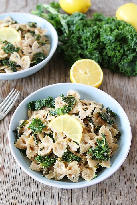 Goat Cheese Lemon Pasta with Kale Recipe on twopeasandtheirpod.com Love this simple and fresh pasta dish!