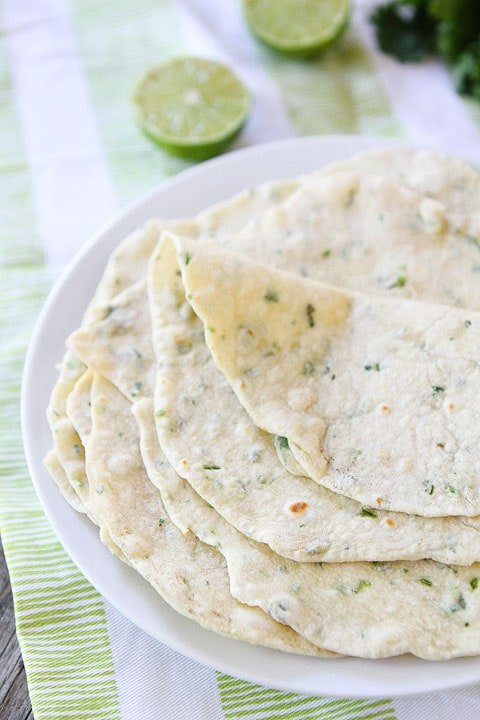 Soft Homemade Tortillas flavored with cilantro and lime