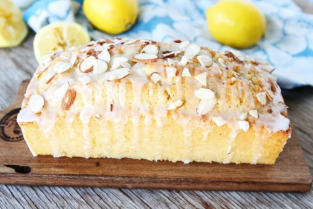 Lemon Almond Bread recipe with lemon glaze and sliced almonds