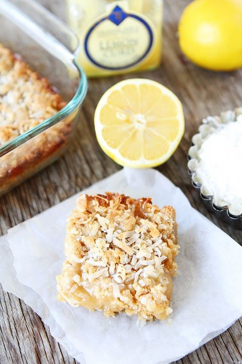 Lemon Coconut Crumb Bars Recipe on twopeasandtheirpod.com The perfect dessert for spring!