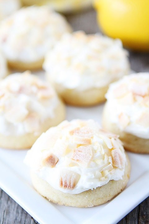Lemon Cookies with Toasted Coconut Frosting Recipe on twopeasandtheirpod.com Love these delightful cookies!