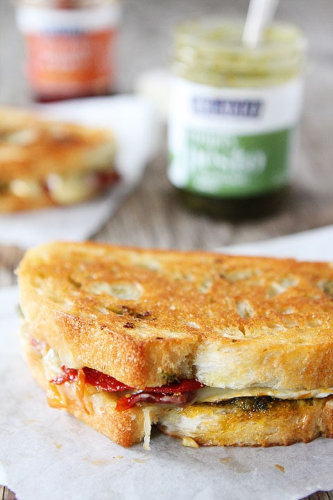Pesto, Brie, and Sweet Pepper Grilled Cheese Sandwich Recipe on twopeasandtheirpod.com LOVE this sandwich!
