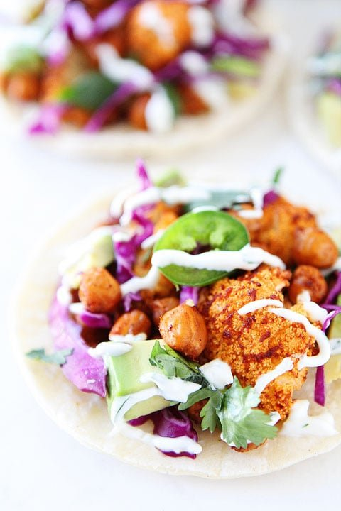 Healthy cauliflower tacos with roasted chick peas