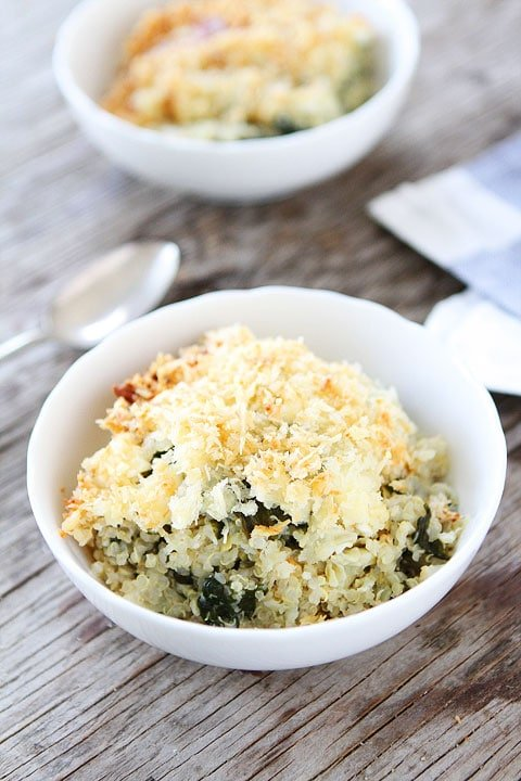 Spinach and Artichoke Quinoa Bake Recipe on twopeasandtheirpod.com Great dinner idea!