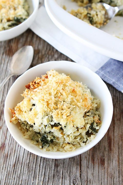 Spinach and Artichoke Quinoa Bake Recipe on twopeasandtheirpod.com Love this quinoa bake!