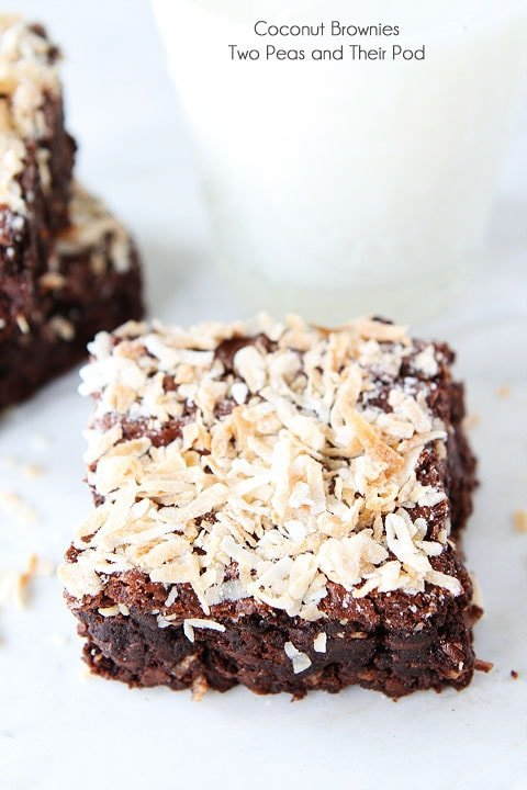 Coconut Brownie Recipe on twopeasandtheirpod.com. Love the chocolate and coconut combo! These fudgy brownies are divine! #brownies #coconut