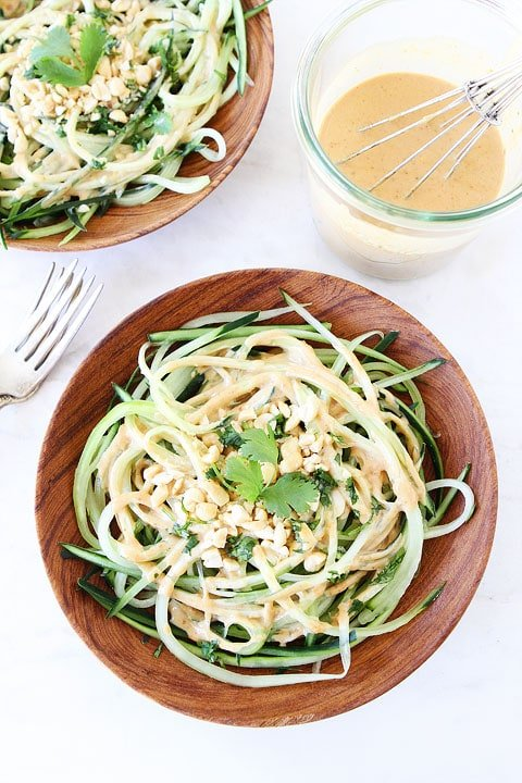Cucumber Noodles with Peanut Sauce This healthy gluten-free vegan noodle dish is light and refreshing