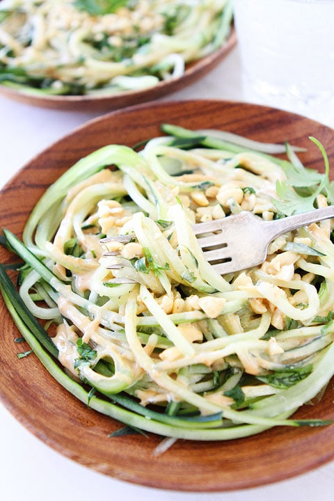 Cucumber Noodles with Peanut Sauce A great gluten-free vegan recipe that is light and refreshing. Perfect for summer!