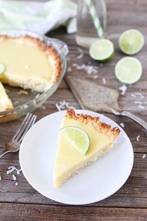 Key Lime Pie with Coconut Macaroon Crust Recipe on twopeasandtheirpod.com. I love the coconut macaroon crust! A fantastic key lime pie recipe! #pie #recipe