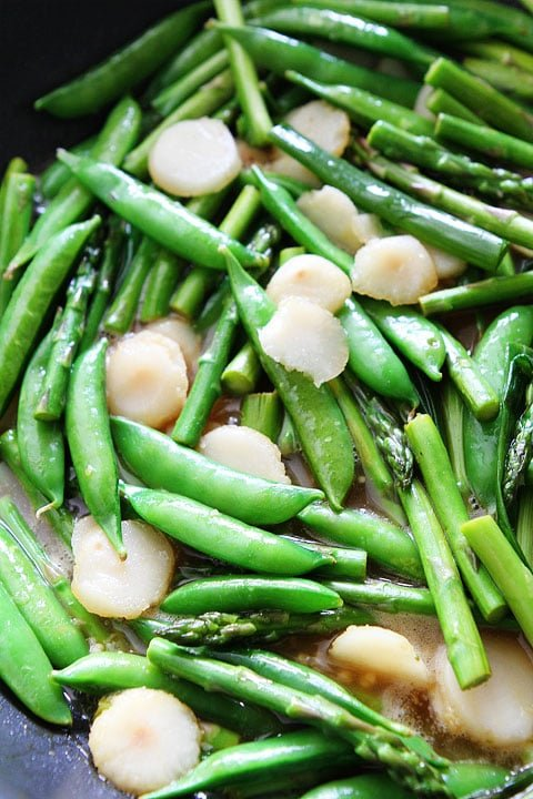 Spring Vegetable Stir Fry with Lemon Ginger Sauce Recipe on twopeasandtheirpod.com. Love this simple and healthy stir fry!
